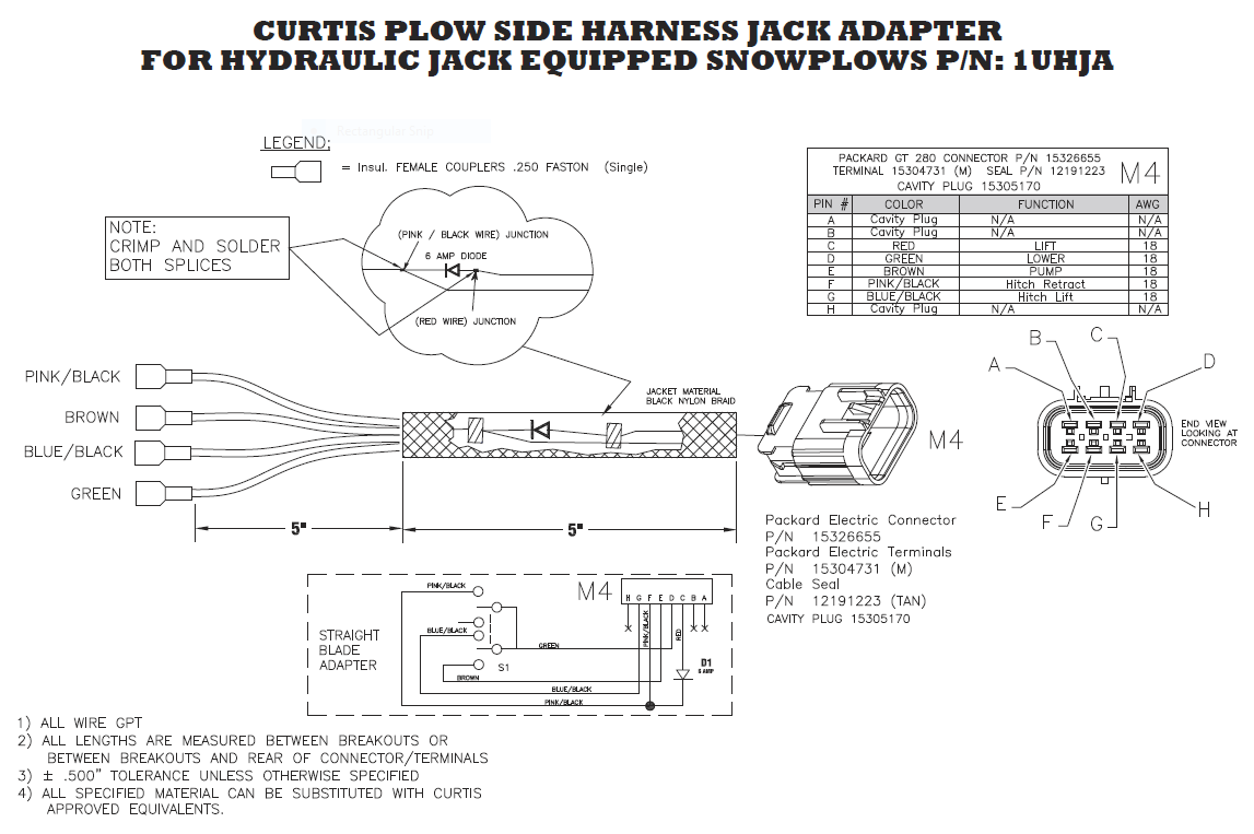 Curtis Wiring Harness Diagram Diagrams Boss 1tbp100 Jack Switch Sno Pro 3000 A Frame Scag Snow Plow